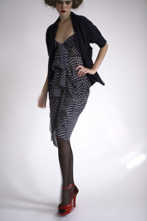 Future Classics fashion SS08 collection Navy Polka Georgette Bow Front Dress & Double Cardigan