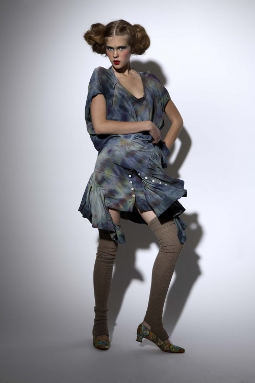 Future Classics fashion SS08 collection Blue Tie Dye Silk Double Frill Dress, dancing