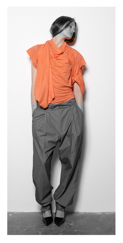 Future Classics fashion SS14 Cool White T Look 2 Orange Twinset and Grey Cotton Pleat front trousers