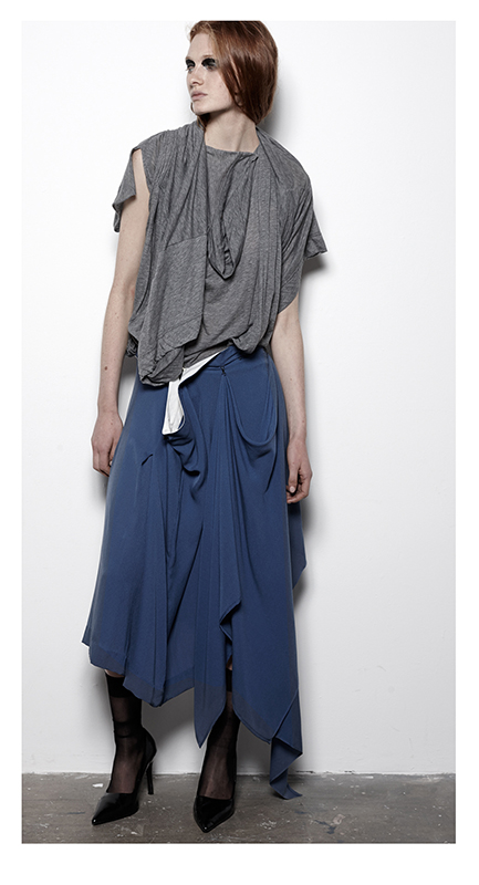 Future Classics fashion SS14 Cool White T Look 7 Grey Marl Twinset and Blue Pleat Skirt with drape
