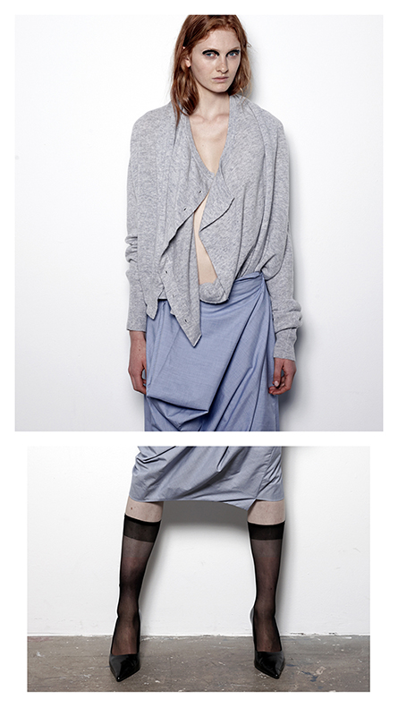 Future Classics fashion SS14 Cool White T Look 9 Snow Marl Double front cardigan and Blue Shirting Origami Pencil Skirt
