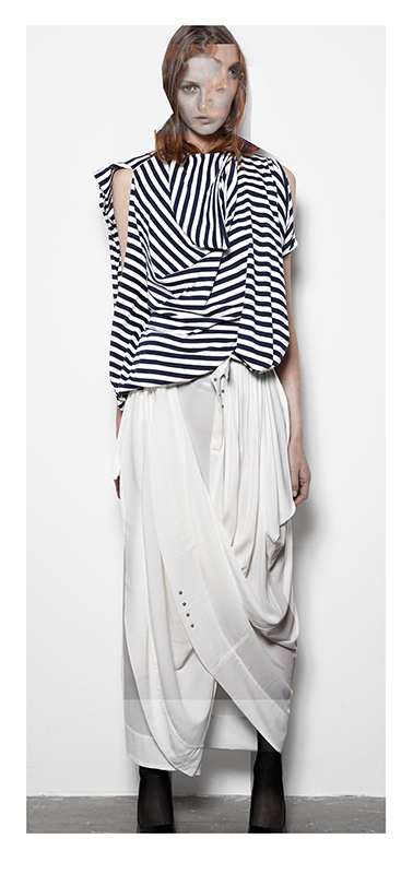Future Classics fashion SS14 Cool White T Look 10 Navy and White Draped Breton Tunic and White Victoriana Pull up Maxi Skirt