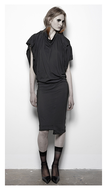 Future Classics fashion SS14 Cool White T Look 16 Black Draped Three Armed T Dress