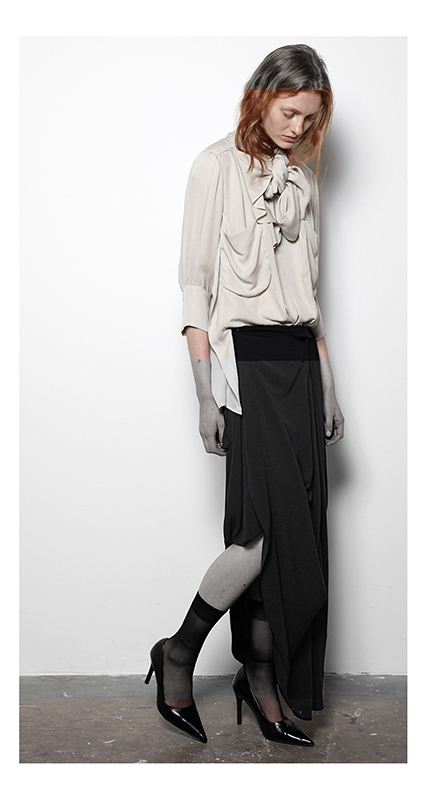 Future Classics fashion SS14 Cool White T Look 17 Cream Multi-panelled Silk Crepe Blouse with Bow Tie Neck and Black Victoriana Pull-up Maxi Skirt