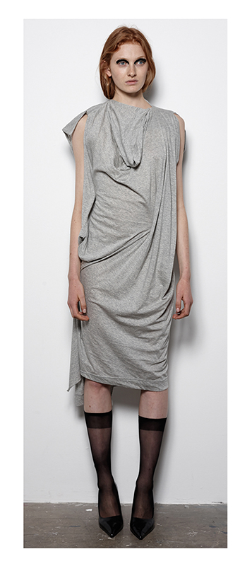 Future Classics fashion SS14 Cool White T Look 20 Grey Marl Drape and Pull Jersey Dress