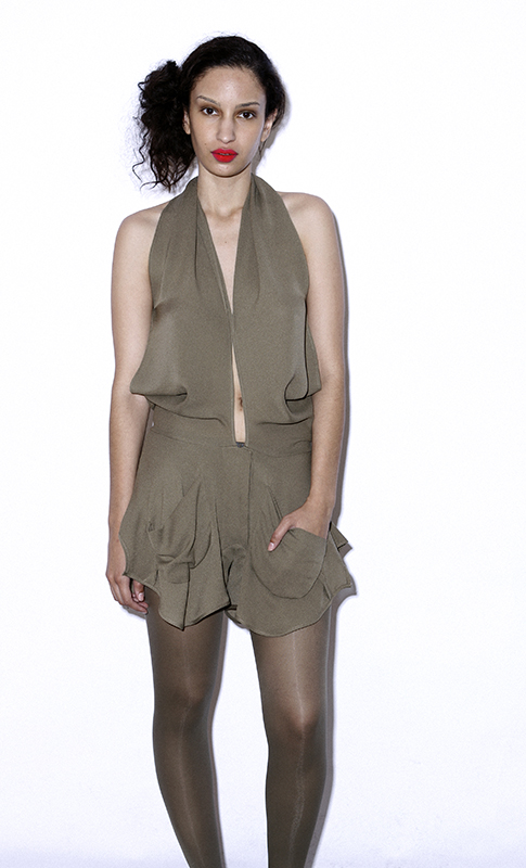 Future Classics fashion SS 11 collection: Sophisticated Jellybeans Look 21 Khaki Playsuit