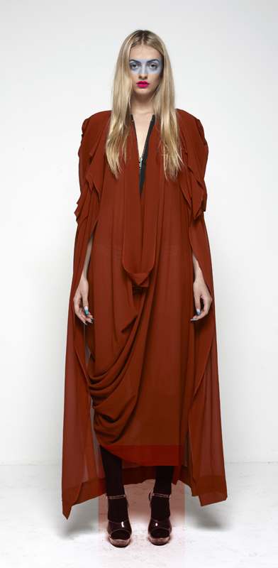 Future Classics fashion SS12 collection: Afrika E8 Look 10 Rust Silk XL Zipper Racer Back Drape Maxi and Matching Cape