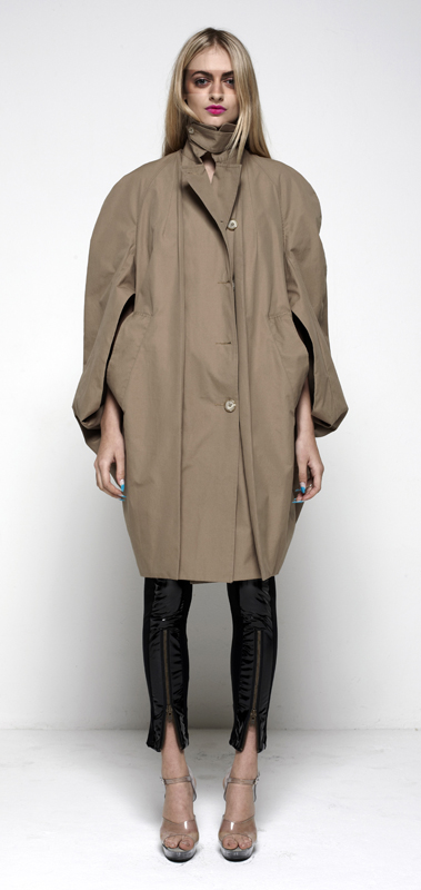 Future Classics fashion SS12 collection: Afrika E8 Look 14 Cape Pod Raincoat with Front Insert