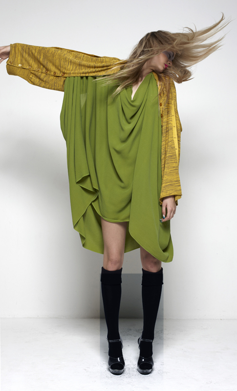 Future Classics fashion SS12 collection: Afrika E8 Look 17 Mustard Marl Abstract Shrug Knitwear with Lime Green Silk Origami Drape Dress