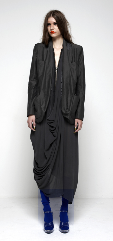 Future Classics fashion SS12 collection: Afrika E8 Look 23 Double Front Jacket with Racer Back XL Zipped Drape Dress