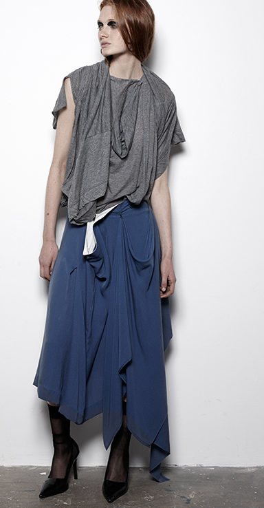 FUTURE CLASSICS fashion SS12 Cool White T collection 3 Armed Twinset and Draped Midi Pleat Skirt