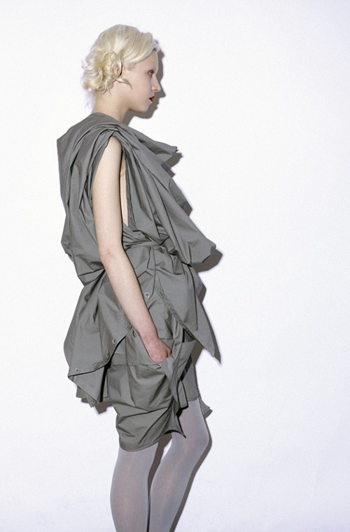 FUTURE CLASSICS fashion SS11 Sophisticated Jellybeans collection Grey Cotton Origami Drape Top and Bloomers