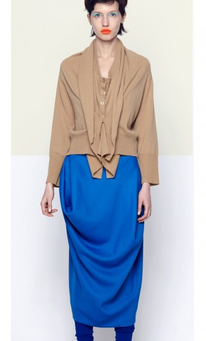 Future Classics AW14 Superclassic Caramel Cashmere Double Front Cardigan Blue Polyester Origami Pencil Skirt